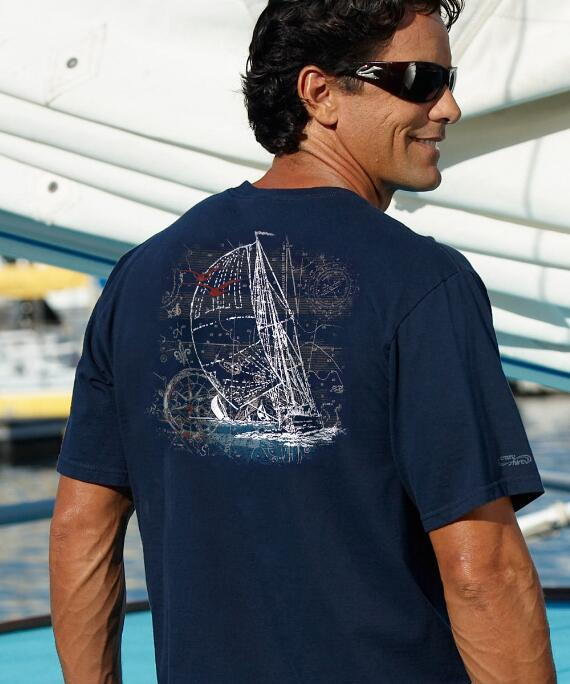 Short-Sleeve Sailing Navy Crew