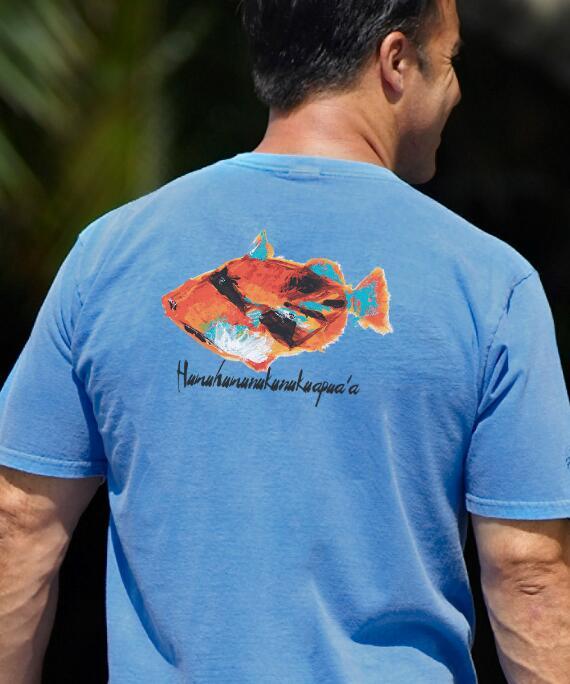 Short-Sleeve Impressionist Humu Blue Hawaii Crew T-shirt