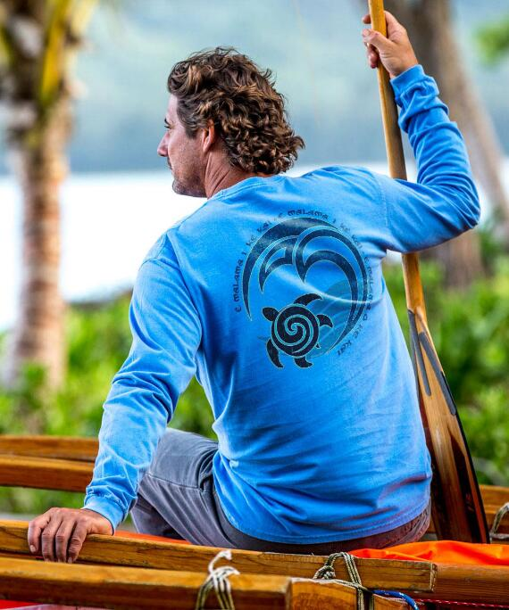 Long-Sleeve Malama Blue Hawaii Classic Crew