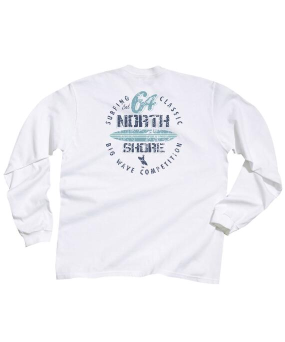 Long-Sleeve Surf Competition White Classic Crew