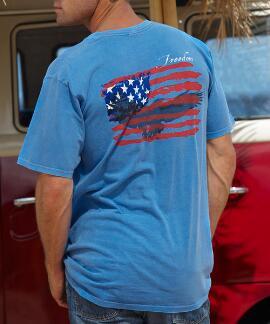 Short-Sleeve Freedom Flyer Blue Hawaii Crew T-shirt