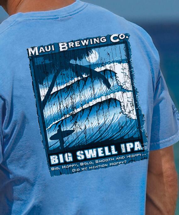 Short-Sleeve Maui Brewing Co. Big Swell Ipa Blue Hawaii Crew T-shirt