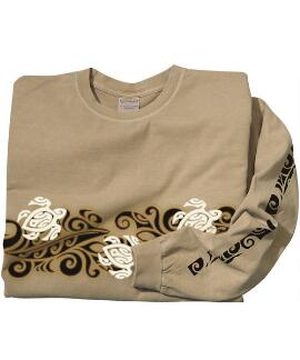 Long-Sleeve Tribal Honu Band Kona Coffee Classic Crew