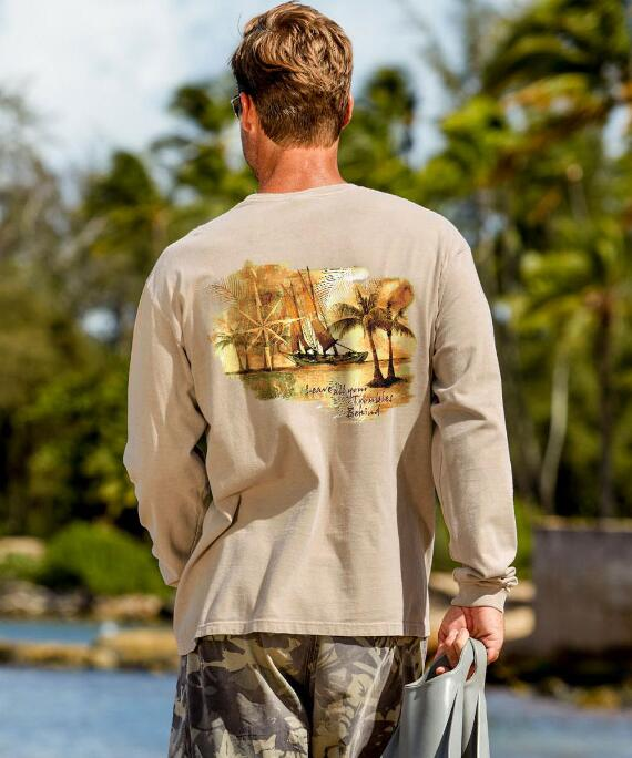 Long-Sleeve Sail Away Kona Coffee Classic Crew