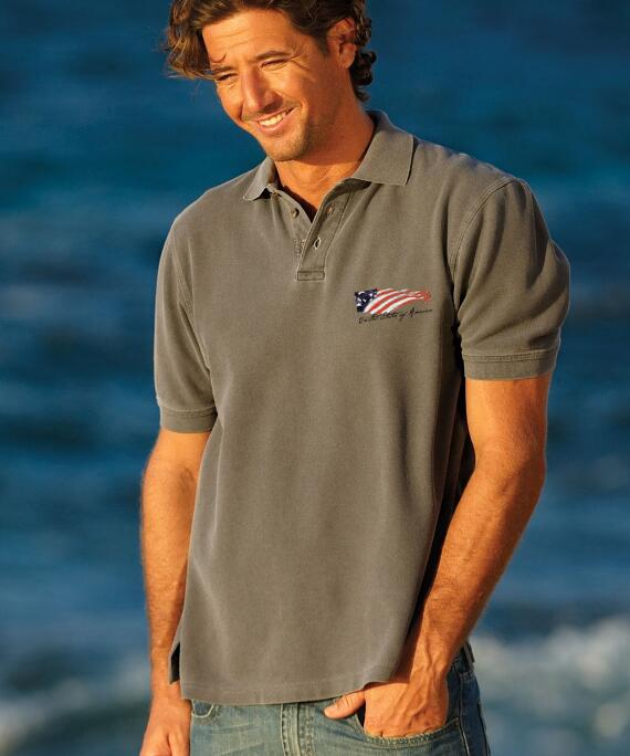 Short-Sleeve Winds Of Freedom Crater Pique' Polo Shirt