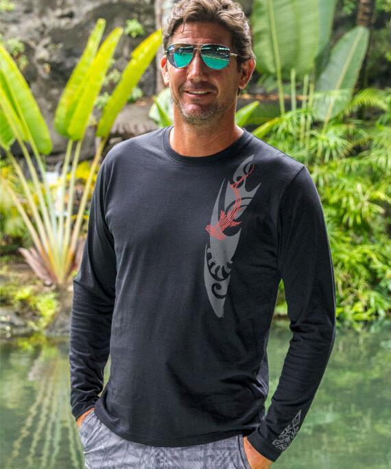Long-Sleeve Woodcut Shark Jet Black Pima Shirt