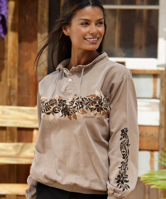 Long-Sleeve Fern Grotto Band Kona Coffee Lightweight Pullover