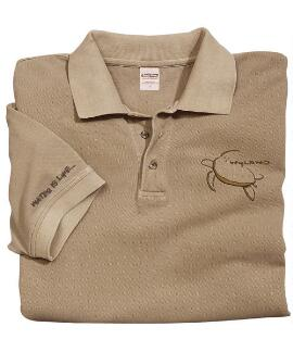 Short-Sleeve Wyland Honu Kona Coffee Pique' Polo Shirt