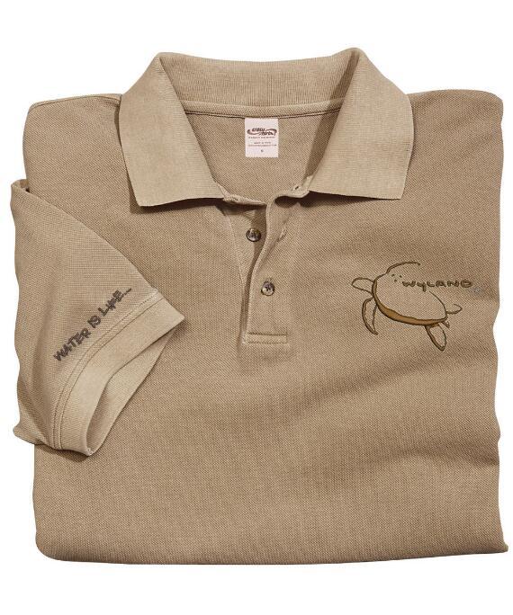 Short-Sleeve Wyland Honu Kona Coffee Pique' Polo Shirt