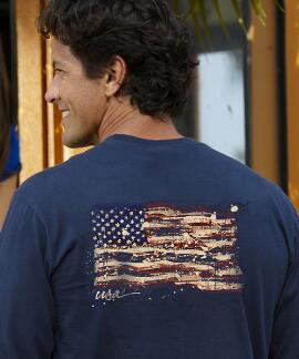 Long-Sleeve Painted Flag Navy Classic Crew