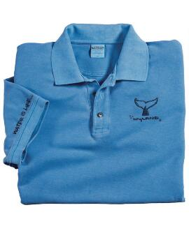 Short-Sleeve Wyland Whale Tail Brush Blue Hawaii Pique' Polo Shirt