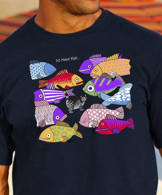 Short-Sleeve So Many Fish Navy Crew