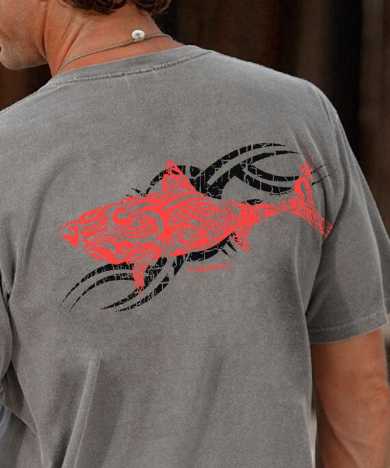 Short-Sleeve Red Shark Crater Crew T-shirt