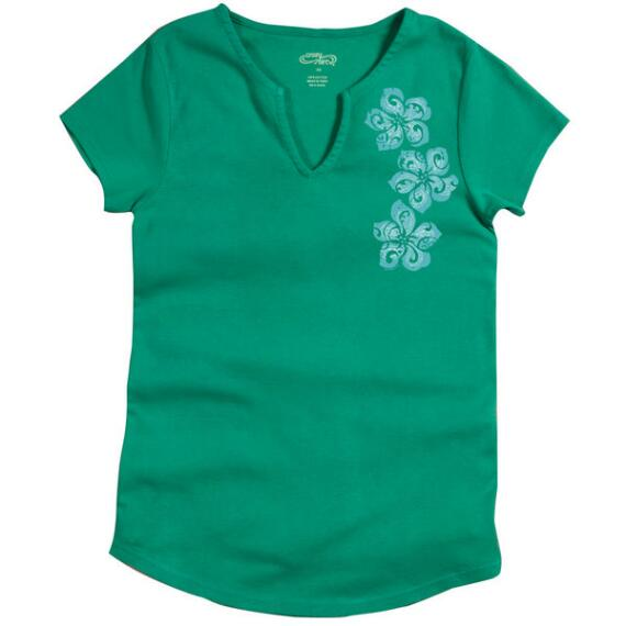 Short-Sleeve Paisley Petals Grass Split V-neck T