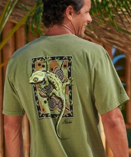 Short-Sleeve Gecko Mosaic Hemp Crew T-shirt