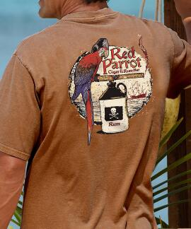 Short-Sleeve Red Parrot Rum Crew T-shirt