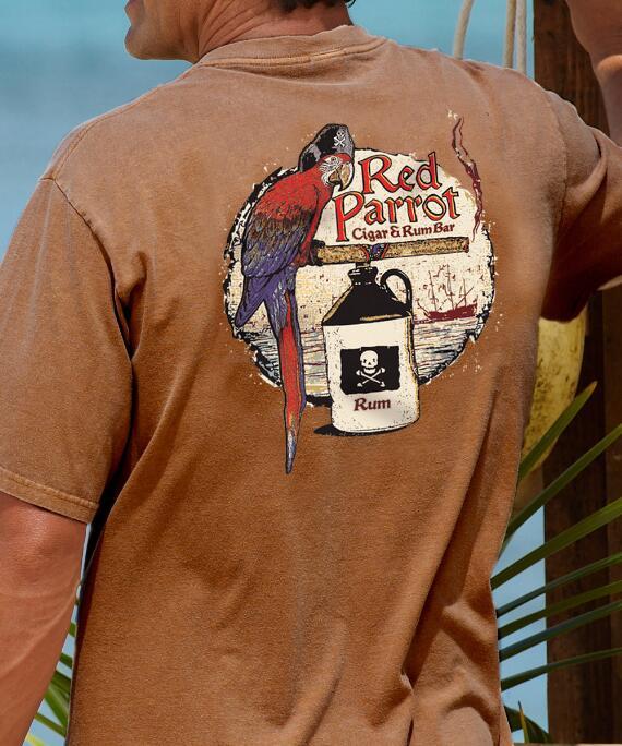 Short-Sleeve Red Parrot Rum Crew T-shirt