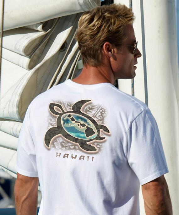 Short-Sleeve Paradise Honu White Crew