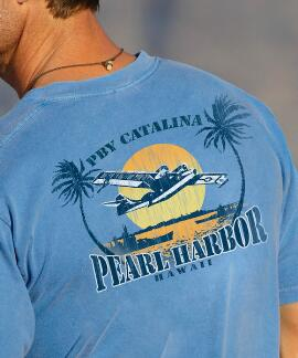 Short-Sleeve Pearl Harbor Planes Blue Hawaii Crew T-shirt