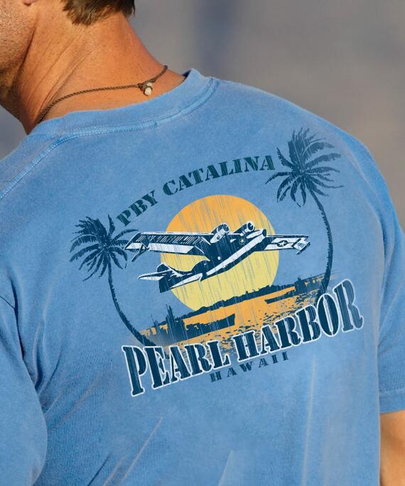 Short-Sleeve Pearl Harbor Planes Blue Hawaii Crew T-shirt