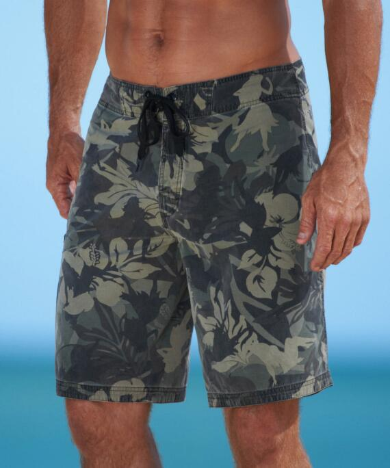 Hulaflage Camo Green Floral Board Short-