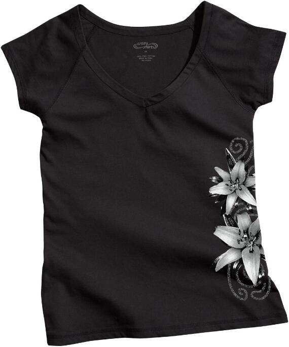 Short-Sleeve Lilies Jet Black Pima Shirt