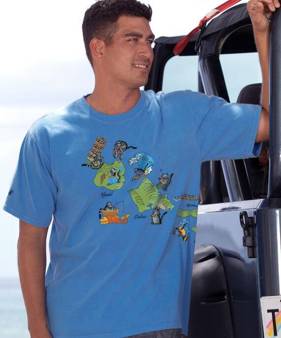 Short-Sleeve Hawaii Map Cats Blue Hawaii Crew T-shirt