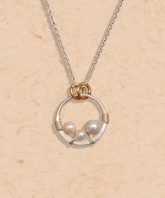 Triple Bead Pearl Necklace - Pearl Necklace