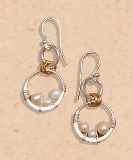 Triple Bead Pearl Earring - Pearl Earrings