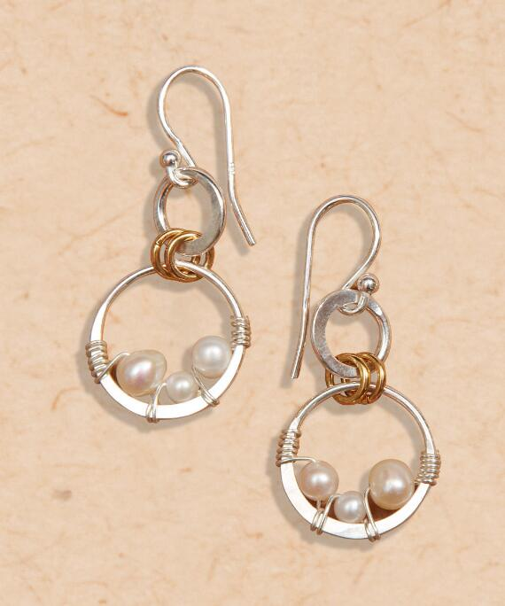 Triple Bead Pearl Earring - Pearl Earrings