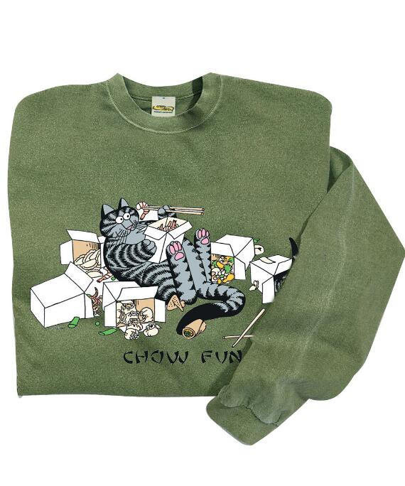 Long-Sleeve Bk Take Out Cats Ti Leaf Classic Crew