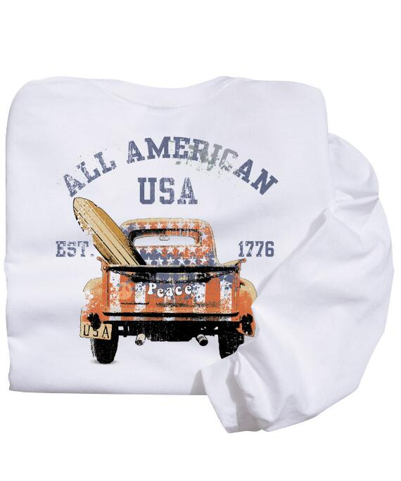 Long-Sleeve American Pickup White Classic Crew