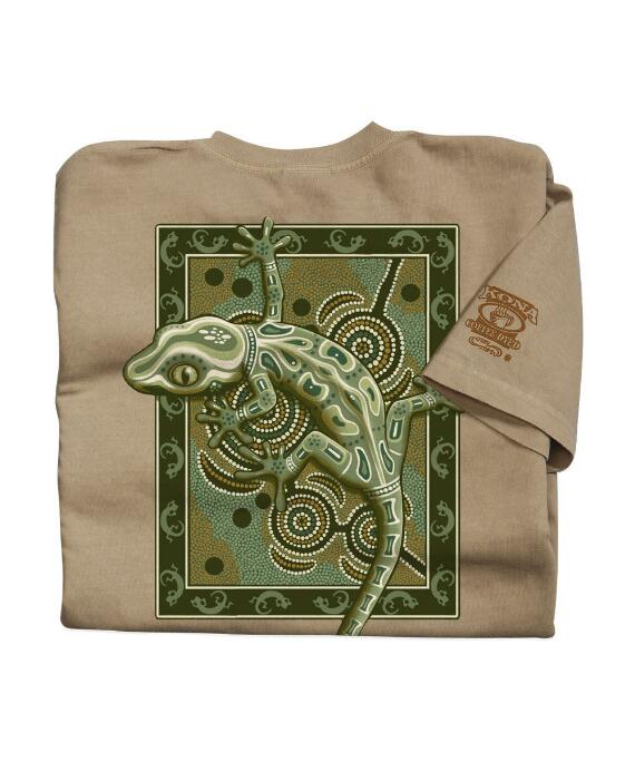 Short-Sleeve Gecko Mosaic Kona Coffee Crew T-shirt