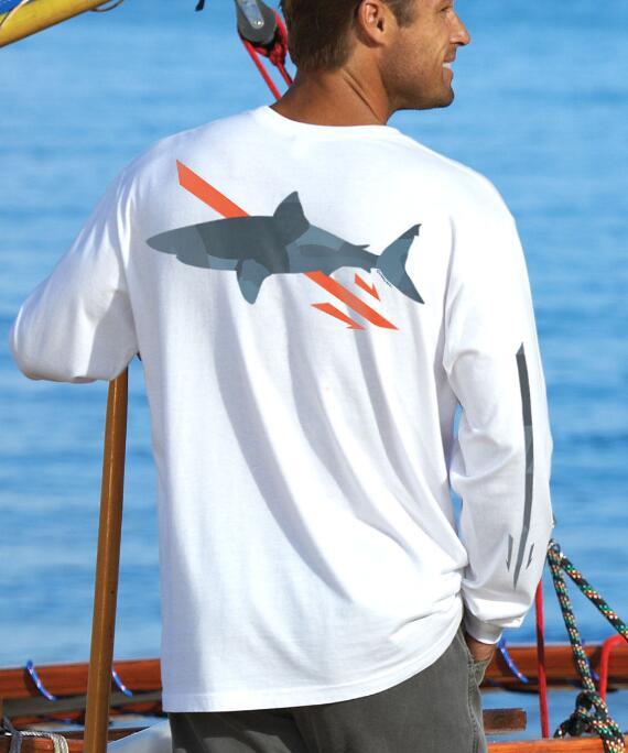Long-Sleeve Manoflage Shark White Classic Crew