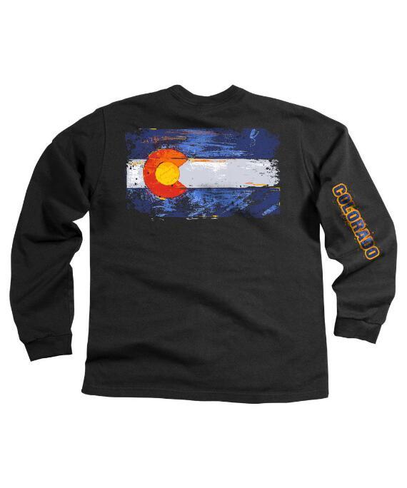 Long-Sleeve Colorado Flag Black Classic Crew
