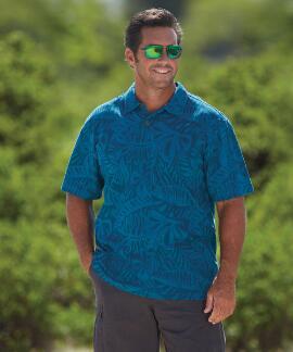 Short-Sleeve Island Grotto Seaport Hawaiian Polo Shirt