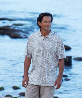 Short-Sleeve Island Grotto Taupe Hawaiian Polo Shirt