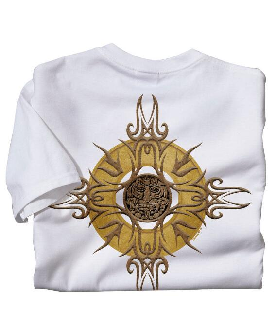Short-Sleeve Sun Medallion White Crew