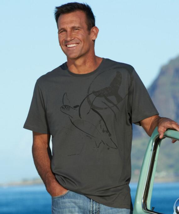 Short-Sleeve Wyland Turtle Smoke Pima Shirt