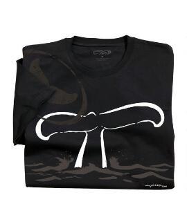 Short-Sleeve Wyland Whale Tail Jet Black Pima Shirt