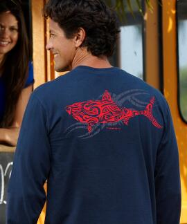 Long-Sleeve Red Shark Navy Classic Crew