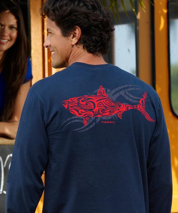 Long-Sleeve Red Shark Navy Classic Crew