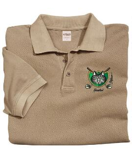 Short-Sleeve Golf Cat Crest Kona Coffee Pique' Polo Shirt