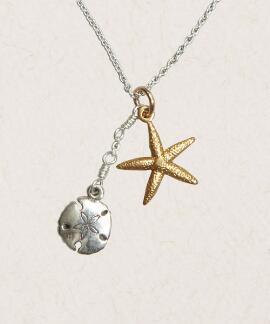 Starfish and Sandollar - Silver/Brass Necklace