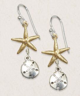 Starfish and Sandollar - Silver/Brass Earrings