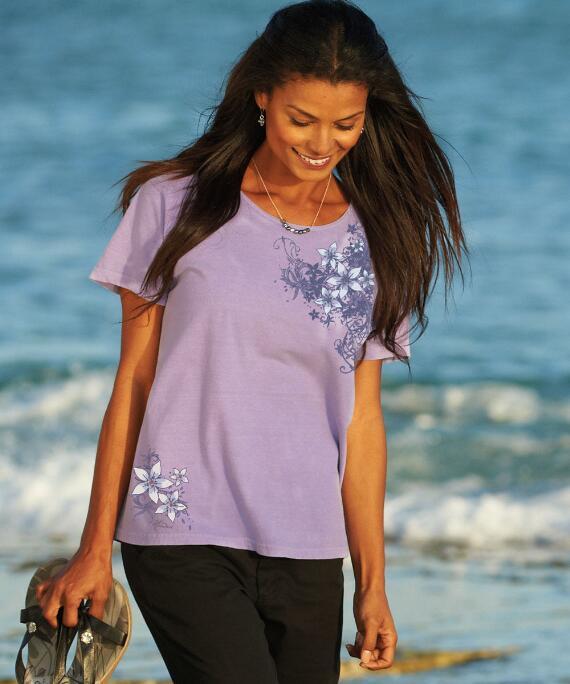 Short-Sleeve Sweet Blossoms Lavender Scoop Neck