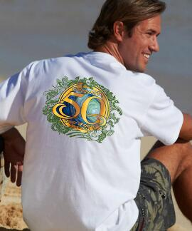 Short-Sleeve Crazy Shirts 50th Anniversary White Crew