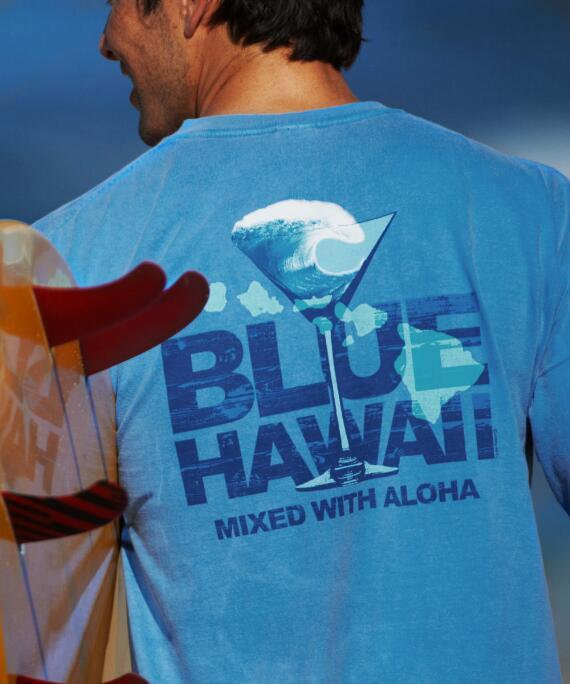 Short-Sleeve Mixed With Aloha Blue Hawaii Crew T-shirt