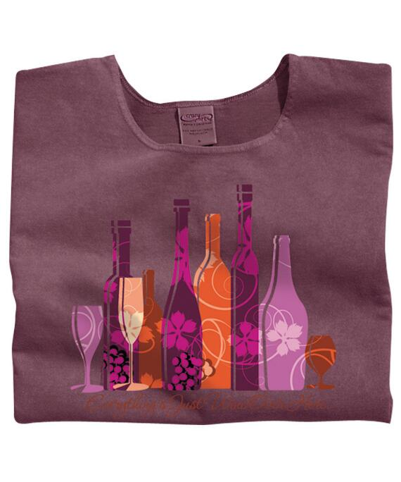 Short-Sleeve Everything Wine Red Wine Scoop Neck