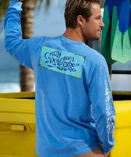 Long-Sleeve Crazy Mountain Brewing Amber Ale Blue Hawaii Classic Crew
